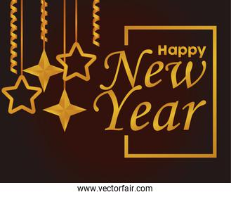 happy new year lettering card with golden stars hanging
