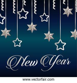 happy new year lettering card with silver stars hanging