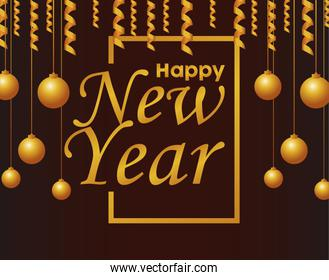 happy new year lettering card with golden balls hanging