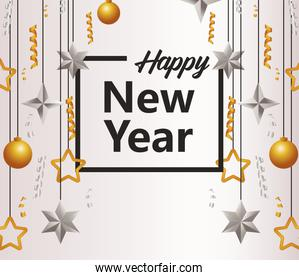 happy new year lettering card with balls and stars hanging