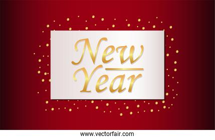 happy new year lettering card in red background