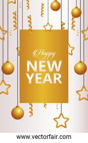 happy new year lettering card with golden garlands and balls hanging