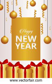 happy new year lettering card with golden balls and gifts