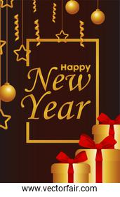 happy new year lettering card with gold balls and gifts