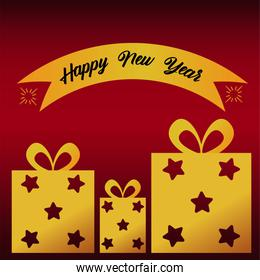 happy new year lettering card with golden gifts and ribbon