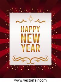 happy new year lettering card with sunburst red background