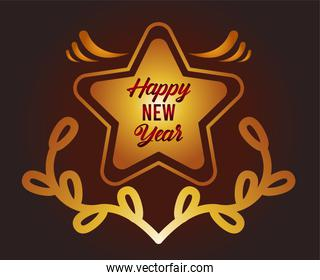 happy new year lettering card with golden star and wreath