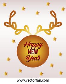 happy new year lettering card with golden wreath and stars