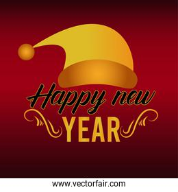 happy new year lettering card with golden santa hat
