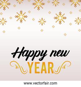 happy new year lettering card with golden snowflakes