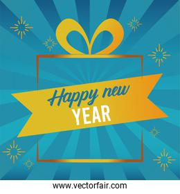 happy new year lettering card with golden gift and ribbon