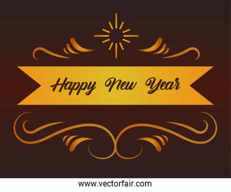 happy new year lettering card in golden ribbon frame