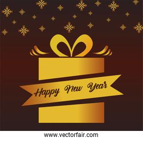 happy new year lettering card with golden ribbon in gift