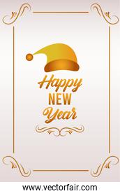 happy new year lettering card with golden santa hat in square frame