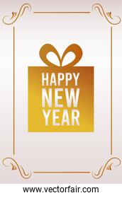 happy new year lettering card with golden gift
