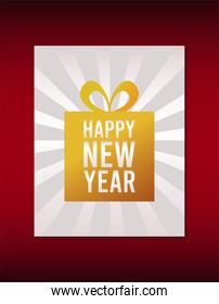 happy new year lettering card with golden gift in red background