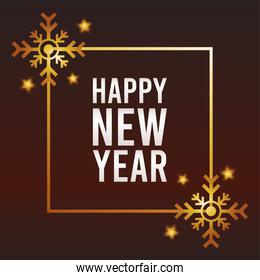 happy new year lettering card with golden snowflakes in square frame