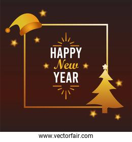 happy new year lettering card with santa hat and pine tree golden