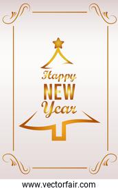 happy new year lettering card with golden pine tree