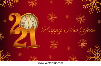 happy new year lettering card with 2021 number and watch