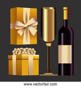 happy new year card with gifts and champagne in gray background