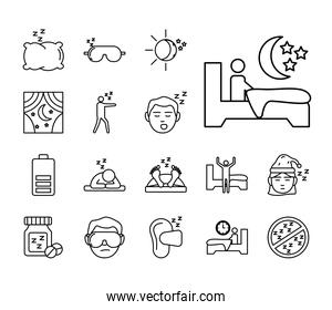 bundle of Insomnia linear style icons