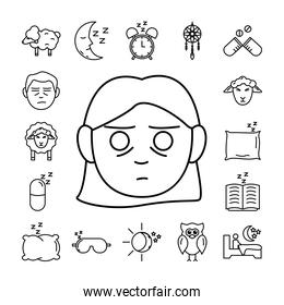 woman and bundle of insomnia set line  icons