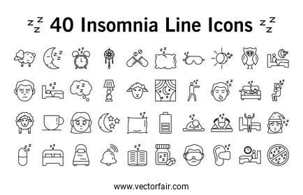 bundle of fourty  Insomnia linear style icons