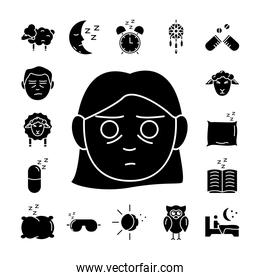 woman and bundle of insomnia set silhouette icons