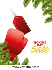 boxing day sale lettering with glove and tag