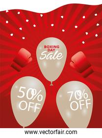 boxing day sale letterings in balloons helium and gloves