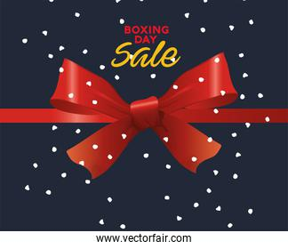 boxing day sale lettering with bow ribbon
