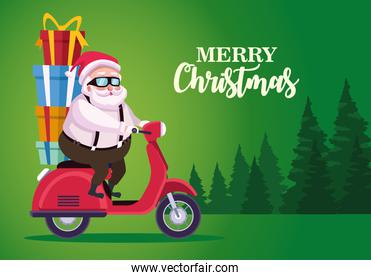 cute santa claus with gifts in motorcycle in forestscape scene