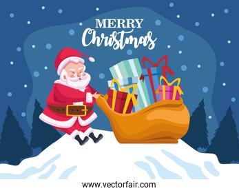 cute santa claus with gifts bag character in snowscape scene