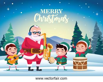 cute santa claus and helpers playing instruments scene