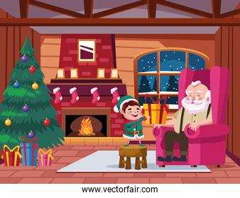 cute santa claus and helper with gift in the house scene