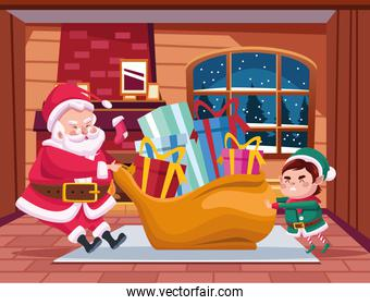 cute santa claus and helper with gifts bag characters scene