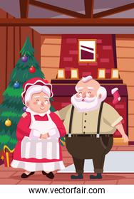 cute santa claus and wife in the house scene
