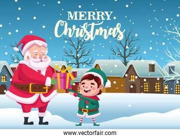 cute santa claus and helper with gift in snowscape scene