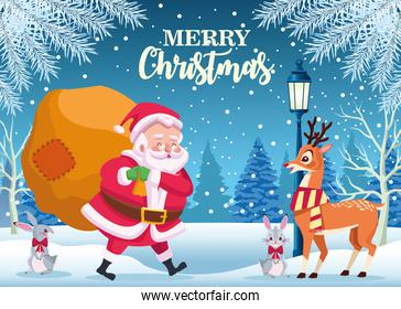 cute santa claus and animals with gifts bag in snowscape