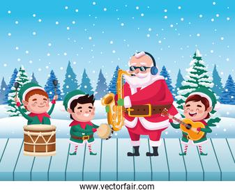 cute santa claus and helpers playing instruments snowscape scene
