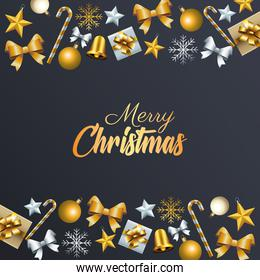 happy merry christmas golden lettering with set decorative icons frame