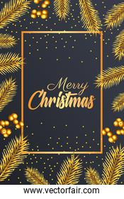 happy merry christmas golden lettering with seeds and firs frame