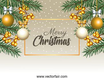 happy merry christmas lettering with firs and balls in square frame