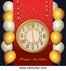 happy new year golden watch with balloons helium frame