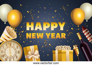 happy new year golden lettering and celebration icons