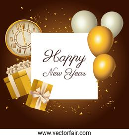 happy new year golden watch and lettering with balloons helium
