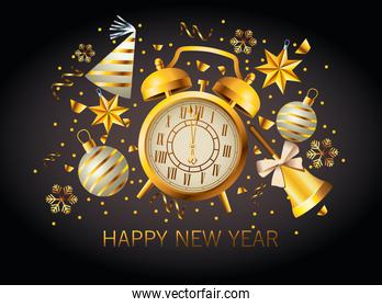 happy new year lettering with golden alarm clock