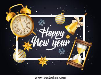 happy new year lettering with celebration set icons in square frame