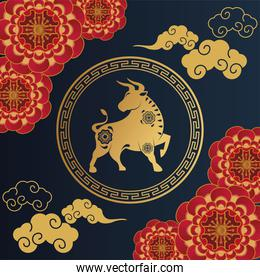 happy chinese new year card with golden ox and red laces